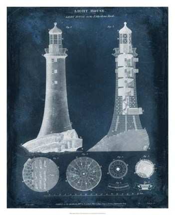 Framed Lighthouse Blueprint Print