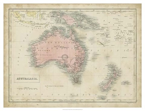 Framed Map of Australia Print