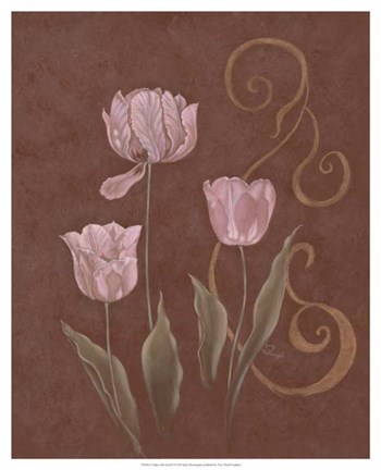 Framed Tulips with Scroll II Print