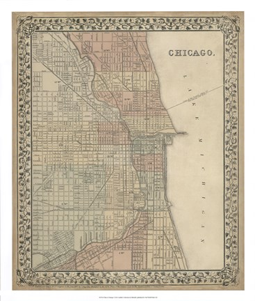 Framed Plan of Chicago Print