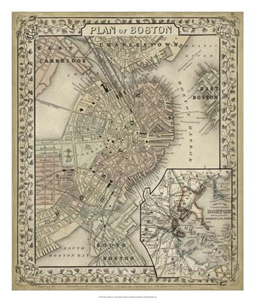 Framed Plan of Boston Print