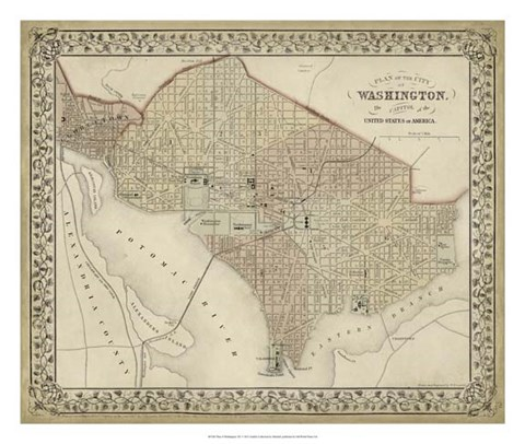 Framed Plan of Washington, D.C. Print
