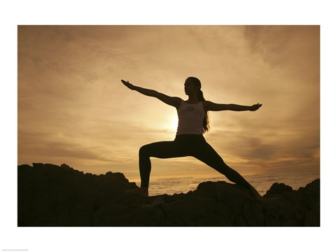 Silhouette of a Yoga - Warrior II Pose Fine Art Print by ...