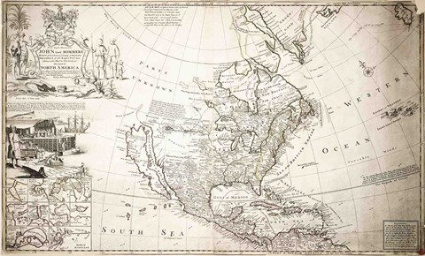 Framed John Lord Sommers Map of North America Print