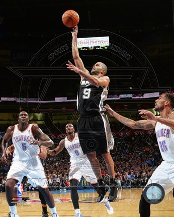 Framed Tony Parker with the ball 2013-14 Print