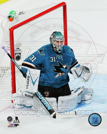 Framed Antti Niemi Hockey Goal Blocking Print