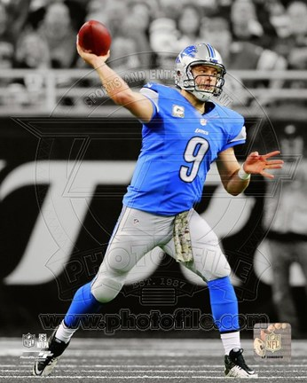 Framed Matthew Stafford 2013 Spotlight Action Print