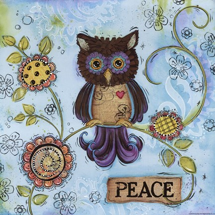 Framed Peace Owl Print
