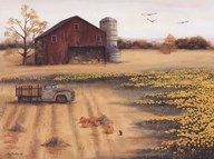 Barn & Sunflowers II  Fine Art Print