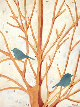 Framed Two Birds In an Orange Tree Print