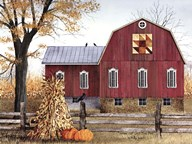 Autumn Leaf Quilt Block Barn  Fine Art Print