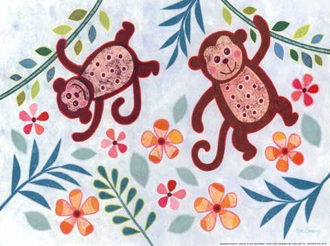Framed Swinging Monkeys Print
