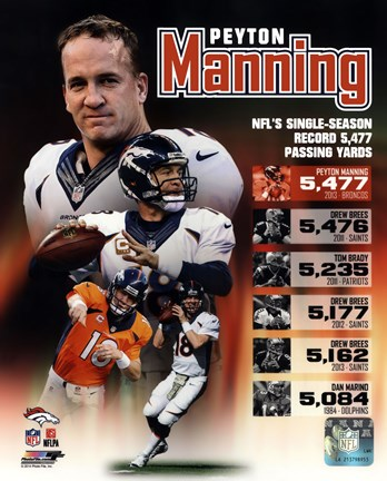 Framed Peyton Manning Single Season Passing Yards Record Print