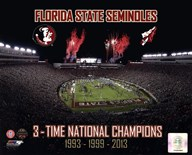 Florida State Seminoles 3- Time National Champions  Fine Art Print