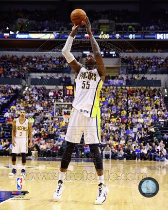Framed Roy Hibbert shooting 2013-14 Print