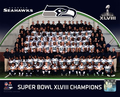 Framed Seattle Seahawks Team Photo Super Bowl XLVIII Champions Print