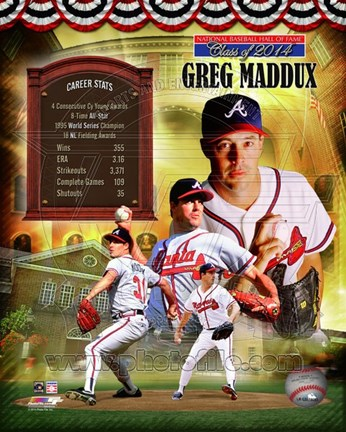 Framed Greg Maddux MLB Hall of Fame Legends Composite Print