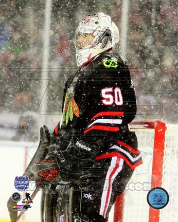 Framed Corey Crawford 2014 NHL Stadium Series Action Print