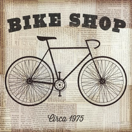 Framed Bike Shop Print