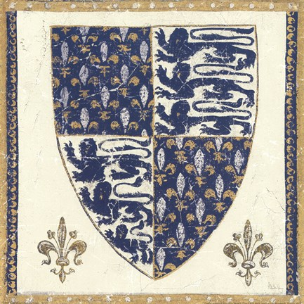 Framed Regal Shield Indigo and Cream Print