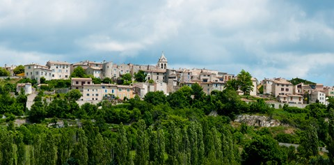 Framed Town on a hill, Sault, Vaucluse, Provence-Alpes-Cote d'Azur, France Print