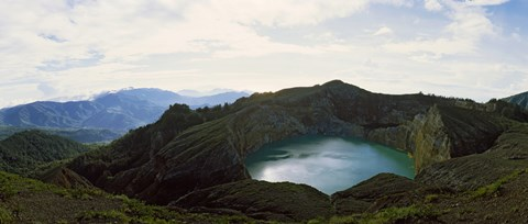 Framed Volcanic lake on a mountain, Mt Kelimutu, Flores Island, Indonesia Print