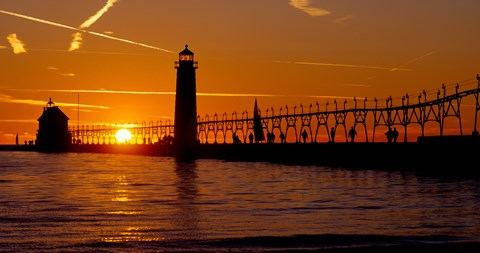 Framed Grand Haven Lighthouse at sunset, Grand Haven, Michigan, USA Print