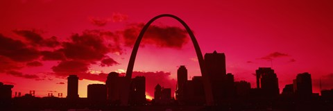 Framed Gateway Arch with city skyline at sunset, St. Louis, Missouri Print
