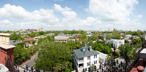 Framed High angle view of buildings in a city, Wentworth Street, Charleston, South Carolina, USA Print