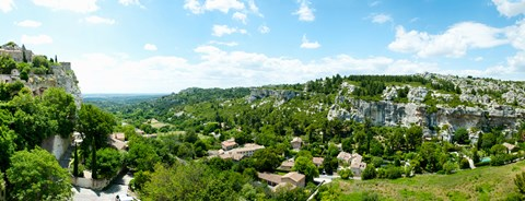 Framed High angle view of limestone hills with houses, Les Baux-de-Provence, Bouches-Du-Rhone, Provence-Alpes-Cote d'Azur, France Print