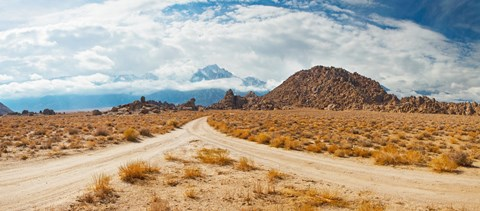 Framed Converging roads, Alabama Hills, Owens Valley, Lone Pine, California, USA Print