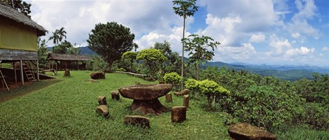 Framed Stone table with seats, Flores Island, Indonesia Print