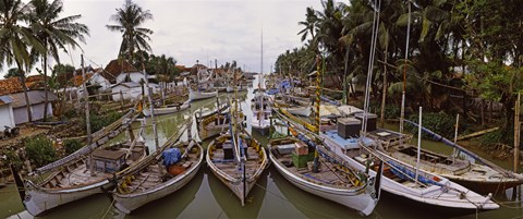 Framed Fishing boats in small village harbor, Madura Island, Indonesia Print