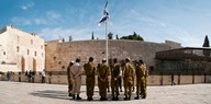 Israeli soldiers being instructed by officer in plaza in front of Western Wall, Jerusalem, Israel Art