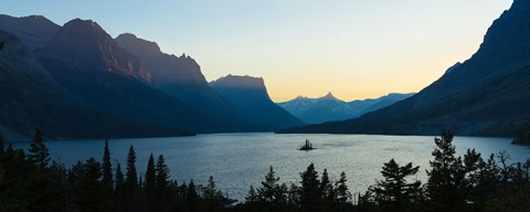 Framed Sunset over St. Mary Lake with Wild Goose Island, US Glacier National Park, Montana, USA Print