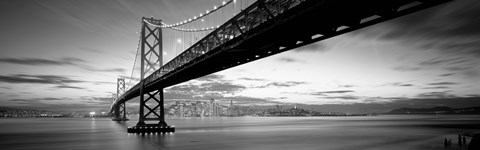 Framed Bay Bridge at Twilight (black & white) Print