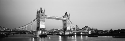 Framed Tower Bridge London England (Black and White) Print
