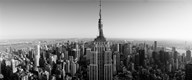 Aerial view of a cityscape, Empire State Building, Manhattan, New York City, USA (black & white) Art