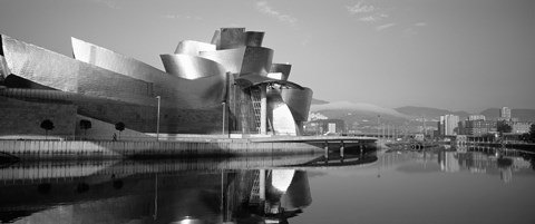 Framed Reflection of a museum on water, Guggenheim Museum, Bilbao, Spain Print