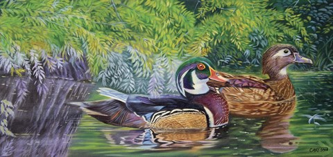 Framed Bayou Wood Ducks Print