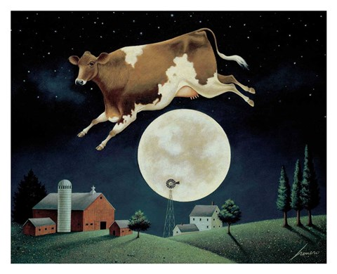 Framed Cow Jumps over the Moon Print