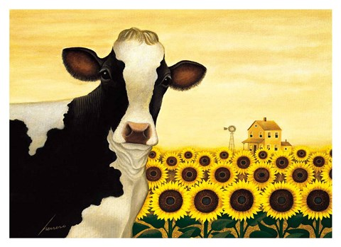 Framed Sunflower Cow Print