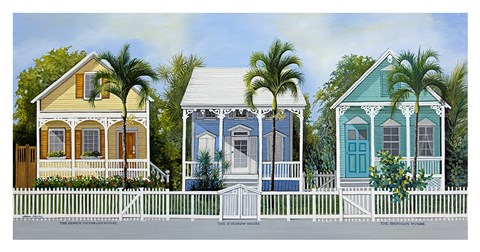 Framed Key West Cottages Print