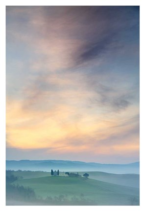 Framed Capella di Vitaleta at Dawn - Tuscany II Print