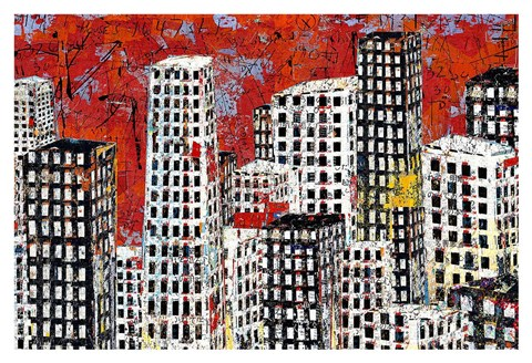 Framed Red, Black and White Cityscape Print