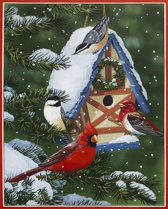 Framed Birds At Feeder (Winter) Print