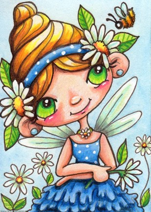 Framed Daisy Flower Fairy Print