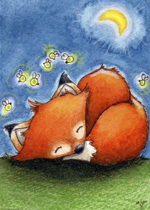 Framed Sweet Dreams Little Fox Print