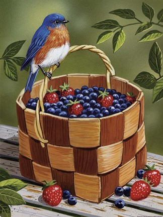 Framed Blueberry Basket Print