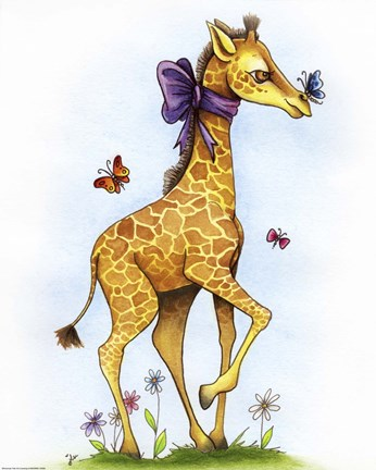 Framed Lovely in Lavender Giraffe Print